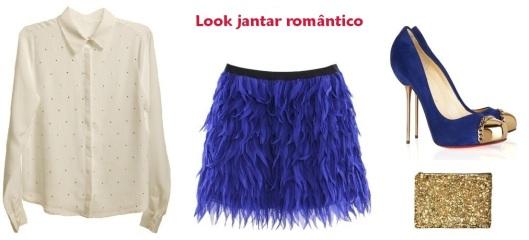 Look jantar romântico, saia azul klein, camisa branca