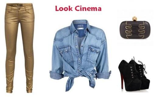 Look cinema, calça dourada, camisa jeans