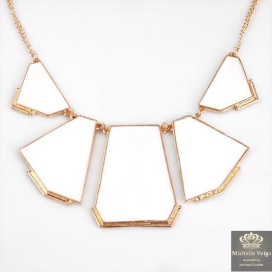 Maxi colar, branco, branco com dourado, comprar, venda online, geométrico, colar, verão 2013