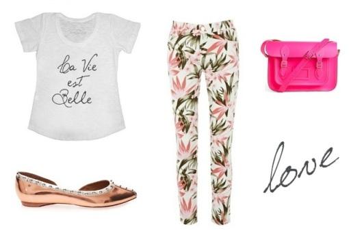 T-shirt fashion, calça estampada, calça floral, t-shirt verão 2013, bolsa cambridge satchel, capatilha schutz, sapatilha dourada, look verão, look tendência