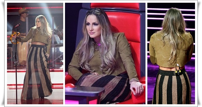 Claudia Leite, The Voice, Look saia longa com top cropped, saia preta com dourada,