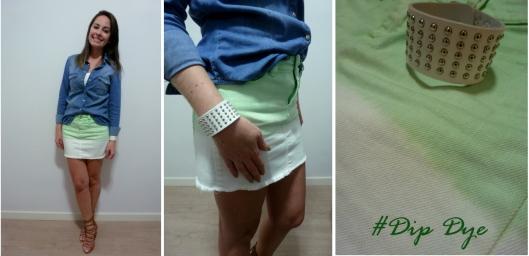 Dip Dye Zara, saia dip day. skirt dip dye, verde com branco, look com dip dye, como usar