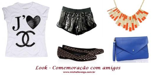 shorts boxer paetes, t-shirt fashion, flat com tachas, maxi colar laranja, clutch azul bic, look encerramento
