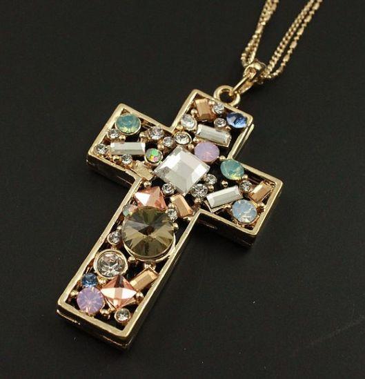 Colar longo de cruz, cruz, crucifixo, cross, acessorios modernos, moda em joinville