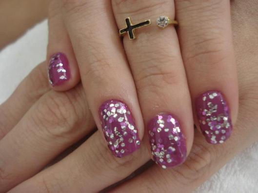 Unha com glitter, unha da semana, eliana, rosa e prata