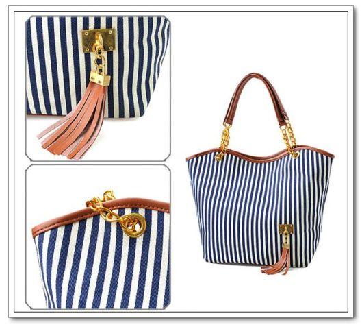 Bolsa com listras, bolsa listrada, stripes, azul e branco, loja online, comprar,