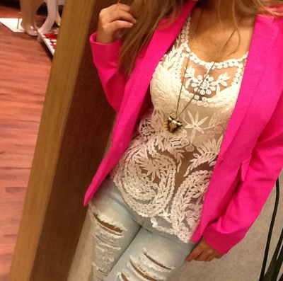 Look com blusa de renda, comprar, venda online, loja de roupas, blusa de renda, blusa rendada